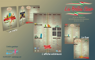 La Bella Ciao (Menu 10 pages-Flyer A5-Affiche ext.)